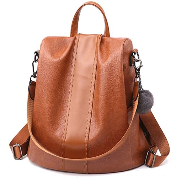 Handbags - Light Brown Anti-Theft Backpack